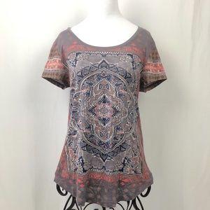 Lucky Brand Short Sleeve Top Mandala Print